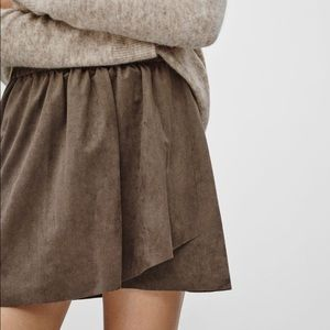 Aritzia Wilfred Free Brown Faux Suede Mini Skirt